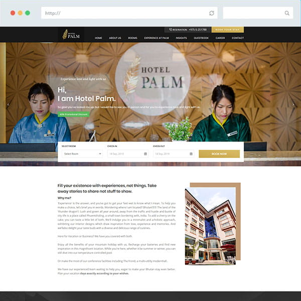 Hotel Palm Responsive Website design
