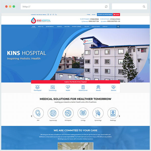 Kins Hospital Website Design